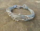 string bracelet with silver beads, fiber jewelry, multistring bracelet handcraft in Italy