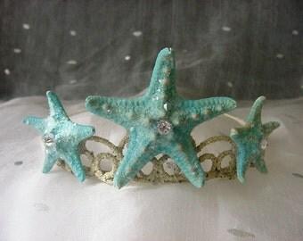 Starfish Mermaid Beach Wedding Tiara, Turquoise