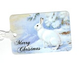 Christmas Tags, Rabbit, Snowy Scene, Christmas Rabbit, Merry Christmas Tags