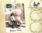 Christmas Tags, French Sisters,  Joyeux Noel, Gift Tags, Vintage Tags