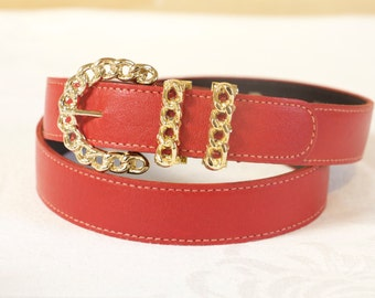 Vintage Red Leather Belt with gold toned buckle by Omega size medium