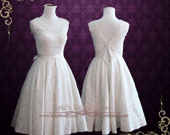 Size 10 Ready to Wear Vintage Tea Length Wedding Dress with Sweetheart Lining | Beach Wedding Dress | 50s Wedding Dress | Caroline