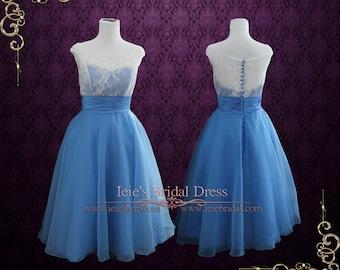 SALE -  Size 4 Blue Vintage Style Retro Tea Length Lace Tulle Prom Dress Formal Dress | Edena