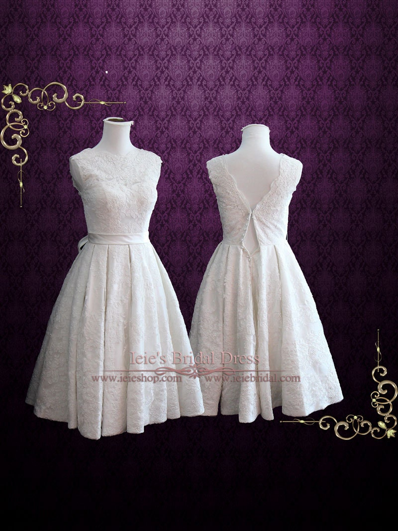 Vintage tea length wedding dress with sweetheart lining for Etsy tea length wedding dress