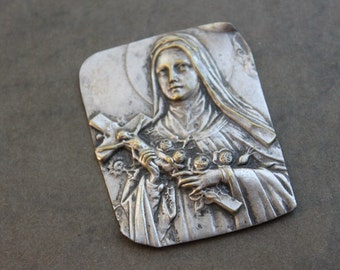 Antique French St. Therese Metal Icon Plaque