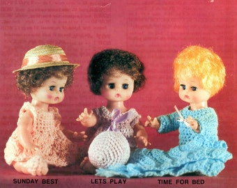 Darice Crochet Dolls D211 Ruffled Dress Sleeveless Long Pajamas Round Stuffed Ball Soft Sculpture Craft Pattern Leaflet 37009