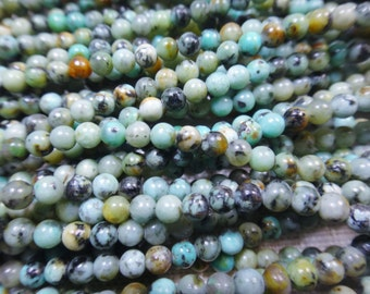 19. African Turquoise 3mm Round Bead 16 Inches Strand 128pcs Stones Beads