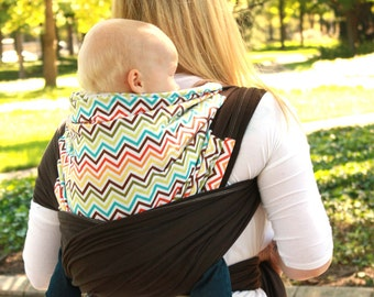 Rainbow Chevron Baby Carrier Hybrid Stretch Wrap - Comfortably Carry Newborn to Toddler in Front or Back Carries - Custom Fit Every Time.