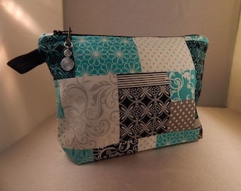 Black Gray Turquoise Print Zipper Pull Ready to Ship Makeup Cosmetic Organizer Bag