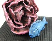 Still Life Relic with Big Carnation and Blue Fish - Flower Pink Pillows Cushions White Scales Water Duo Striped Aquatic Swim Puffy Gills