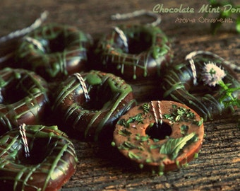 Chocolate Mint Donuts Aroma Ornaments. Set of 3.  Naturally scented essential oil diffuser. For car, office, or kid's room.