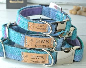 Harris Tweed Dog Collars, Tweed Dog collar, Blue and turquoise Dog Collar. Designer dog collar
