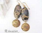 Chohua Jasper Earrings, Natural Stone Earrings, Brass Earrings, Gold Dangle Earrings, Handmade Earthy Jewelry, Brown Black Stone Earrings