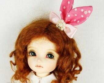 Doll BJD Ribbon Pink Rabbit Hair Clip - Fatiao handmade