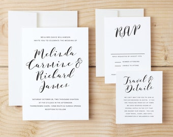 Instant DOWNLOAD Printable Wedding Invitation Template | Flowing Script | Word or Pages | MAC or PC | Editable Artwork Colors