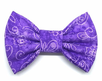 Garden Variety Snap-In Dog Bows® Bow Tie, Purple Floral Pet Bow Tie, Best Pet Bow Tie, Dog Bow Tie, Cat Bow Tie, Pet Bow Tie, Harness Bow