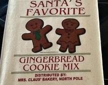 Flour Sack,  Feed Sack, Feed Sack Towel, Kitchen Towel, Cotton Towel, Dish Towel,  Tea Towel, Gift, Santas Favorite Gingerbread Cookies