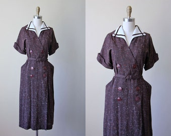 1940s Dress - Vintage 40s Dress - Chocolate Brown White Orange Fleck Rayon Wool Day Dress L - Box of Truffles Dress