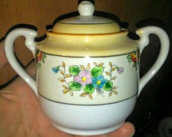 Vintage Trico Handpainted Sugar Bowl- Nagota Japan