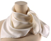 IVORY WHITE Silk Bridal Scarf 80s Normcore Simple Minimal Style Unique Wedding Shawl 26 inch Twill Silk Hand Rolled Neck Scarf Women Gift