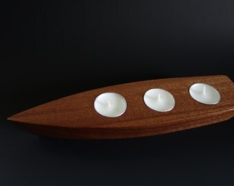 CANDLE BOAT in Mahogany