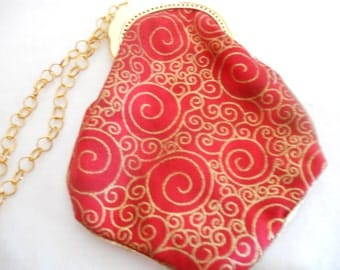 Purse with Gold Scroll on Red, with Tassel