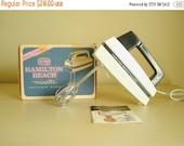 Hamilton Beach Mixette model 75 hand mixer, 1960s electric hand beater in box, mid-century kitchen baking equipment, bride housewarming gift
