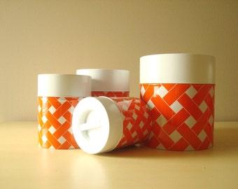 Vintage canister set, orange & white lattice print, 4-piece set made in Japan, 1960-70s metal canister set, 1970s kitchen decor
