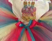 Shopkins birthday cake personalized rhinestone shirt and tutu outfit -- sizes girls 4/5-14/16