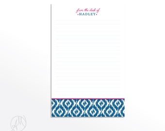 Custom From the Desk of Pad, Personalized Ikat Notepad, Cute Colorful Monogrammed Note pad