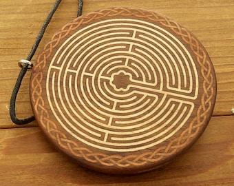 Walnut Labyrinth Locket with Celtic Knots