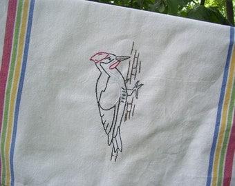 Pileated Woodpecker Rainbow tea towel-hand stitched
