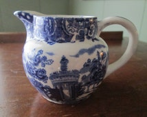 "Midwinter China Flow Blue Transferware ""Landscape"" Blue White Ironstone Water Pitcher,Blue White Decorating,"