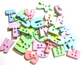 50 pcs Assorted alphabet Letter buttons 2 holes for sewing crafts mix pastel color