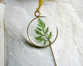 Delicate Leaf Necklace, Green Leaf Necklace, Nature Lovers Jewelry, Botanical Jewelry, Real Dried Leaf Necklace