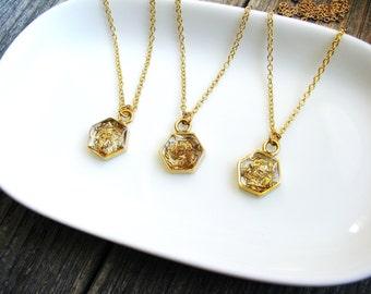 Gold Glitter Pendant Necklace, Mini Hexagon Necklace, Bohemian Necklace, Boho Necklace, Layering Necklace, Minimalist, Geometric Jewelry