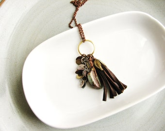 Jasper and Leather Tassel Necklace, Brown Leather Necklace, Stone Necklace, Boho Necklace, Tribal Long Necklace, Mixed Metal Minimalist