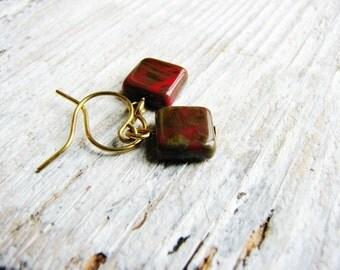 Red Czech Glass Earrings, Square Bead Earrings, Rusty Brown Earrings, Minimalist, Geometric, Earthy, Simple Design