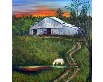 Sunrise Painting, Sunset Painting, Barn Painting, Cow Painting, Farm, Old Barn, Landscape, Reflection, Original Oil Painting, Helen Eaton