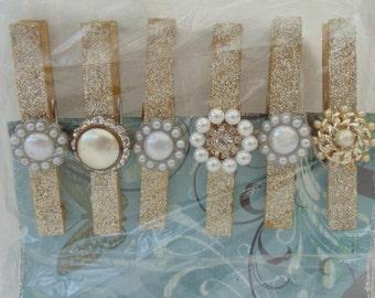 Glitter Button Clips Clothespin Art Hangers