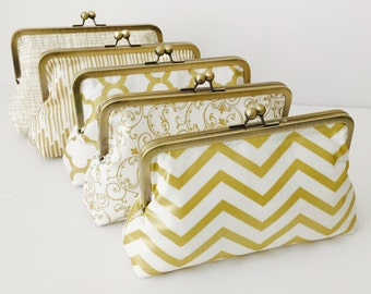 Bridesmaid Clutch, Gold and white Wedding Clutches, Monogrammed bridesmaid clutches