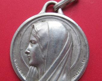 Virgin Mary Antique Religious Medal Signed Augis And Mazzoni Lourdes Catholic Pendant       SS59