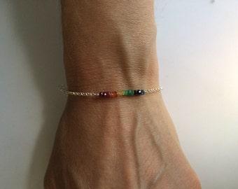 Orlando Love Pride Bracelet: Rainbow Gemstone Sterling Silver Bracelet