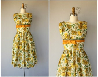 50s Dress | 1950s Dress | 1950s Floral Dress | 50s  Dress | 1950s Party Dress | Yellow Floral Dress | 50s Spring Dress (medium)