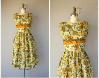 50s Dress | 1950s Dress | 50s Floral Dress | 1950s Floral Dress | 50s Party Dress | 1950s Party Dress | Yellow Floral Dress | 50s Fall Dress