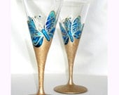 Blue Butterfly Wedding Crystal Hand Painted Wine Glasses