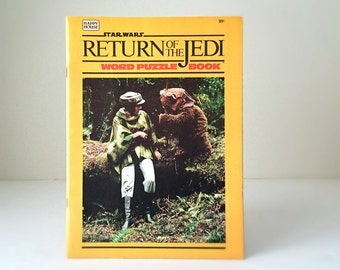 1980's Star Wars Return of the Jedi Word Puzzle Book - Ewoks, Princess Leia, Han Solo, Luke Skywalker, C-3PO, R2-D2 - Kids Activity Book