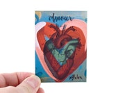 Amour Anatomical Heart Artist Trading Card - Anatomical Heart Art Print - ACEO, Artist Trading Cards