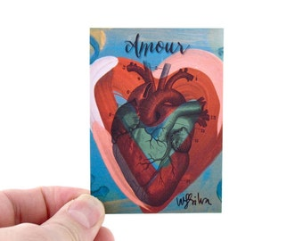 Amour Anatomical Heart Artist Trading Card - Anatomical Heart Art Print - Valentine ACEO, Artist Trading Cards
