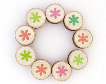 Modern Asterisks Refrigerator Magnet Set - Set of Nine Bright Modern Flower Magnet Set - S/9 Magnetic Memo Board Magnets - Mothers Day